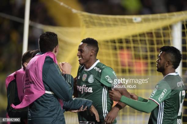 Brazil's Palmeiras player Yerry Mina celebrates after scoring a goal against Uruguay's Penarol during their Libertadores Cup football match at the...