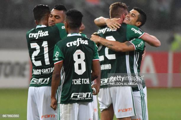 Brazil´s Palmeiras players celebrate after winning their 2017 Copa Libertadores football match against Uruguay's Penarol at Allianz Parque stadium in...