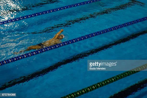 Brazil's Paralympic swimmer Daniel Dias swims during practice session of 2017 Loterias Caixa Swimming and Athletics Open Championship at Brazilian...