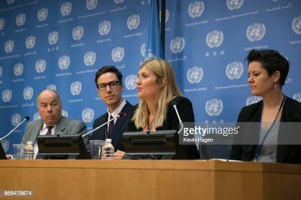 Brazil's Permanent Representative to the UN Mauro Luiz Iecker Vieira left ICAN AsiaPacific Director Tim Wright ICAN Executive Director Beatrice Fihn...