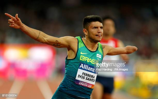 Brazil's Petrucio Ferreira dos Santos after winning the Men's 100m T47 Final during day two of the 2017 World Para Athletics Championships at London...