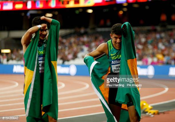 Brazil's Petrucio Ferreira dos Santos after winning the Men's 100m T47 Final with compatriot Yohansson Nascimento during day two of the 2017 World...