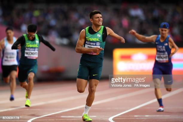 Brazil's Petrucio Ferreira Dos Santos celebrates setting a new world record in the Men's 200m T47 Final during day nine of the 2017 World Para...