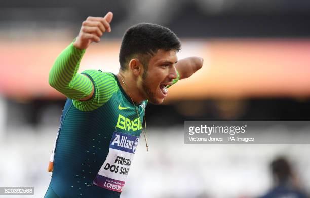 Brazil's Petrucio Ferreira dos Santos celebrates winning the Men's 200m T47 Round 1 Heat 2/2 during day eight of the 2017 World Para Athletics...