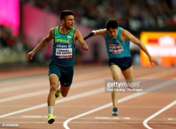 Brazil's Petrucio Ferreira dos Santos winning the Men's 100m T47 Final during day two of the 2017 World Para Athletics Championships at London Stadium