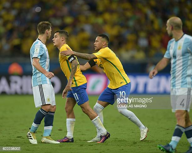 Brazil's Philippe Coutinho and Neymar are pictured during their 2018 FIFA World Cup qualifier football match against Argentina in Belo Horizonte...