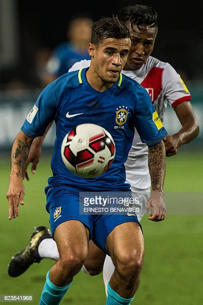 Brazil's Philippe Coutinho is marked by Peru's Pedro Aquino during their 2018 FIFA World Cup qualifier football match in Lima on November 15 2016 /...