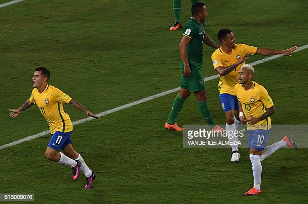Brazil's Philippe Coutinho Neymar and Gabriel Jesus celebrate after scoring against Bolivia during their Russia 2018 World Cup football qualifier...