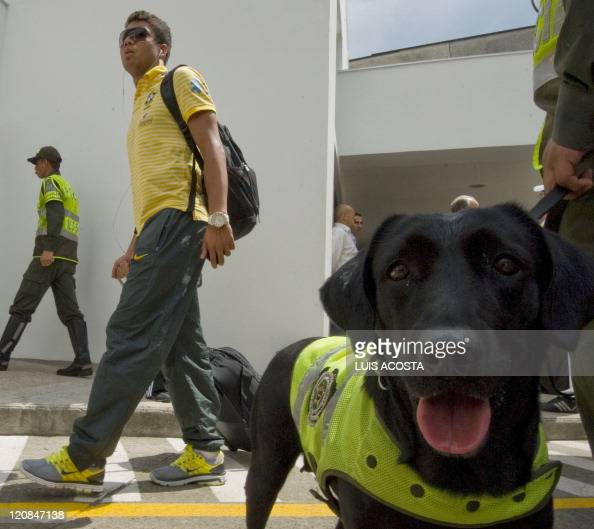 Brazil's player Carlos Casimiro arrives at Matecana airport in Pereira Colombia on August 11 2011 during the FIFA U20 World Cup Brazil will face...