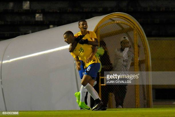 Brazil's player Richarlison celebrates a goal against Argentina during a South American Championship U20 football match at the Olimpico Atahualpa...
