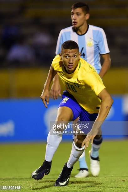 Brazil's player Richarlison celebrates his goal against Argentina during their South American Championship U20 football match in the Olimpico...