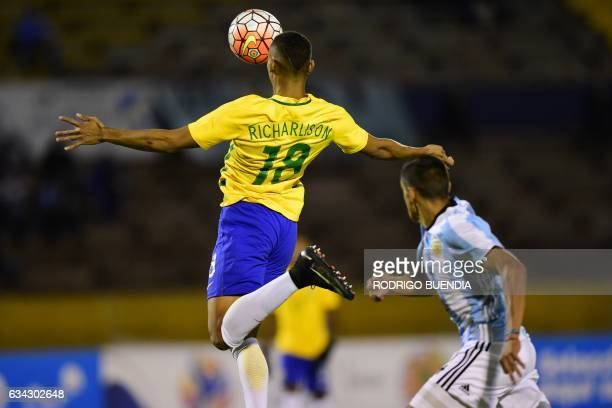 Brazil's player Richarlison kicks a goal against Argentina during their South American Championship U20 football match in the Olimpico Atahualpa...