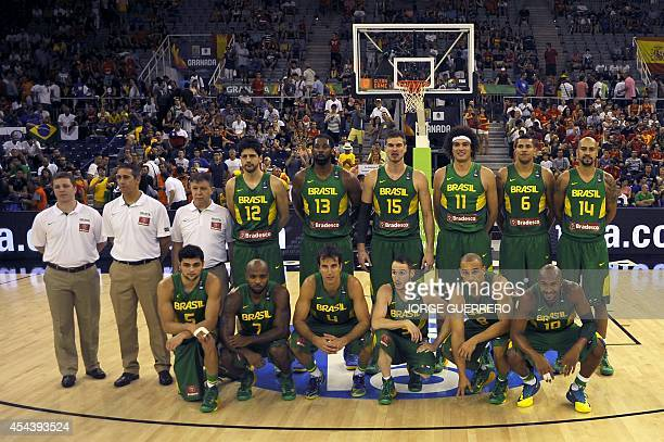 Brazil's players prepares to take part in the 2014 FIBA World basketball championships group A match France vs Brazil at the Palacio Municipal de...
