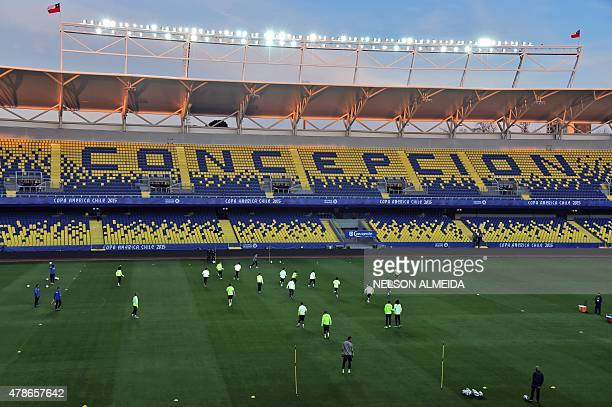 Brazil's players take part in a training session at the Ester Roa stadium in Concepcion Chile on June 26 on the eve of their Copa America Chile 2015...