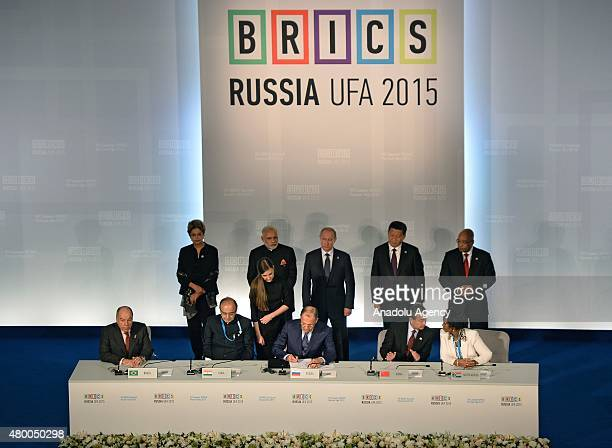 Brazil's President Dilma Rousseff Indian Prime Minister Narendra Modi Russian President Vladimir Putin Chinese President Xi Jinping and South African...