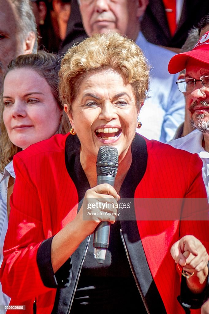 Brazil's President Dilma Rousseff speaks during a May Day rally in Sao Paulo, Brazil, Sunday, May 1, 2016