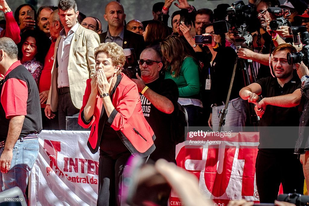 Brazil's President Dilma Rousseff speaks during a May Day rally in Sao Paulo, Brazil, Sunday, May 1, 2016.