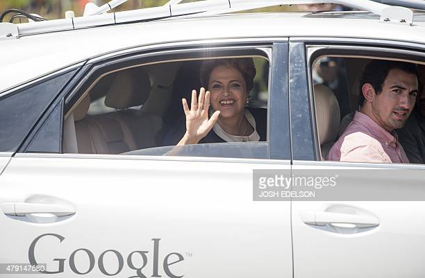 Brazil's President Dilma Rousseff takes a ride in a selfdriving car at Google headquarters in Mountain View California on Wednesday July 01 2015AFP...