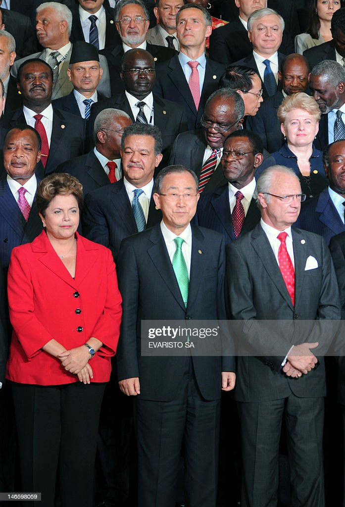 Brazil's President Dilma Rousseff, UN Secretary General Ban Ki-Moon and Sweden's King Carl Gustaf pose with other heads of state and representatives during the UN Conference on Sustainable Development Rio+20 family photo, in Rio de Janeiro, Brazil on June 20, 2012. World leaders kicked off a three-day summit on environment and poverty to a warning from UN chief Ban Ki-moon that 'time is not on our side' for fixing a mounting list of problems.