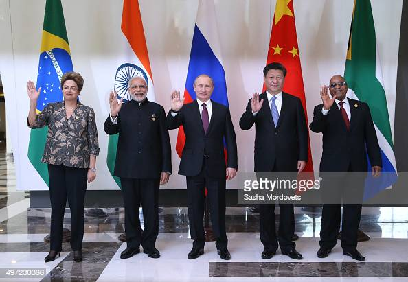 Brazil's President Dilmah Rousseff Indian Prime Minister Narendra Modi Russian President Vladimir Putin Chinese President Xi Jinping South African...