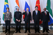 Brazil's President Dilmah Rousseff Indian Prime Minister Narendra Modi Russian President Vladimir Putin Chinese President Xi Jinping South African...