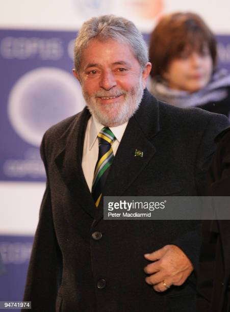 Brazil's President Luiz Inacio Lula Da Silva arrives for the final day of the UN Climate Change Conference on December 18 2009 in Copenhagen Denmark...