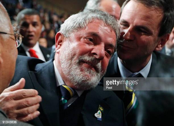 Brazil's President Luiz Inacio Lula da Silva reacts after it was announced that Rio de Janeiro has won the bid to host the 2016 Summer Olympic Games...