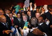 Brazil's President Luiz Inacio Lula da Silva reacts after it was announced that Rio de Janeiro has won the bid to host the 2016 Summer Olympic Games...