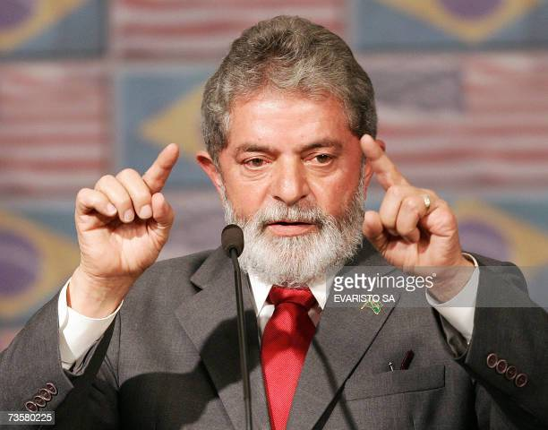Brazil's President Luiz Inacio Lula da Silva speaks during a joint press conference with US President George W Bush in Sao Paulo 09 March 2007 Bush...