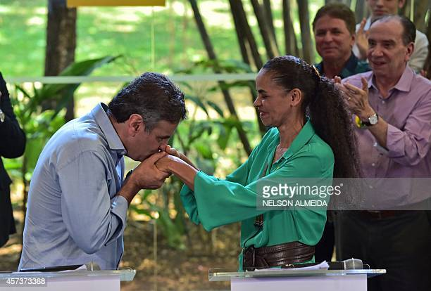 Brazil's presidential candidate for the Brazilian Social Democratic Party Aecio Neves and former presidential candidate for the Brazilian Socialist...