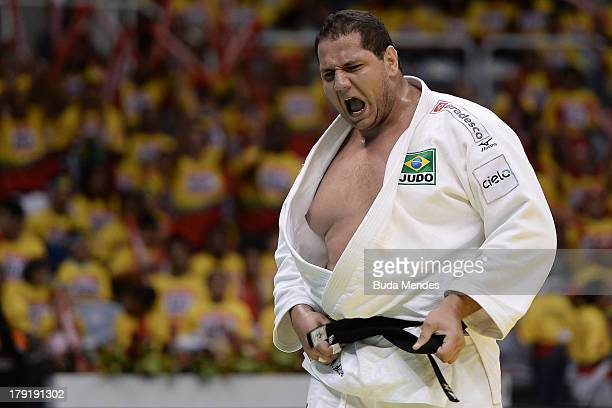 Brazil's Rafael Silva celebrates the victory in the 100kg category SemiFinal during the IJF World Judo Championship at Gymnasium Maracanazinho on...