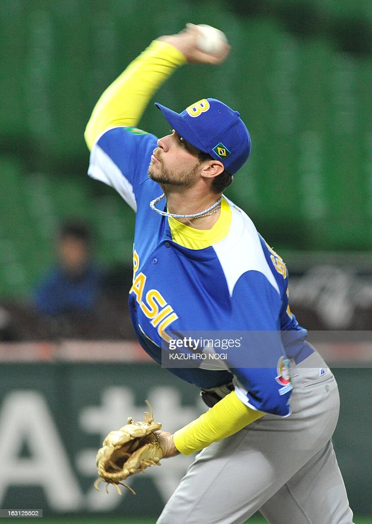 Brazil's relief pitcher Murilo Gouvea pitches the ball against China during the fifth inning of their first-round Pool A game in the World Baseball Classic tournament in Fukuoka on March 5, 2013.