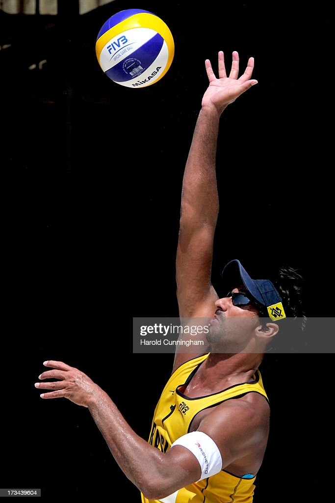 Brazil's Ricardo Santos in action during the Ricardo-Alvaro Filho v Pedro-Bruno final match as part of the FIVB Gstaad Grand Slam sixth day on July 14, 2013 in Gstaad, Switzerland.