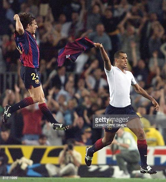 Brazil's Rivaldo jubilates 17 June 2001 at Camp Nou stadium in Barcelona at the end of the Spanish first division match between Barcelona and...