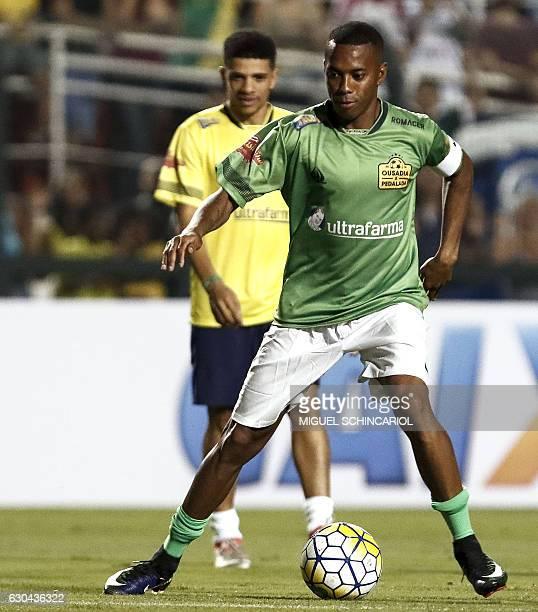 Brazil's Robinho of the team Atletico Mineiro controls the ball during the charity football match Ousadia vs Pedalada at Pacaembu stadium in Sao...