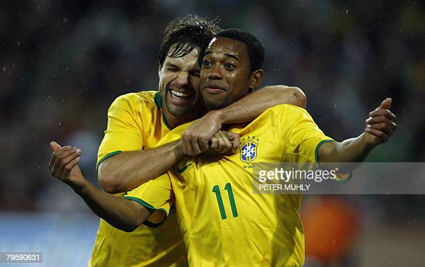 Brazil's Robson Souza celebrates with team mate Diego Ribas after scoreing against Ireland on February 6 2008 during an International match in Dublin...