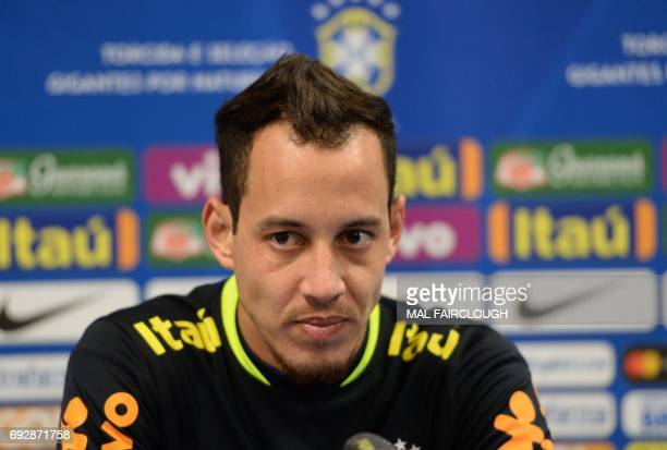 Brazils Rodriguinho attends a press conference following a football training session in Melbourne on June 6 ahead of their match against Argentina on...