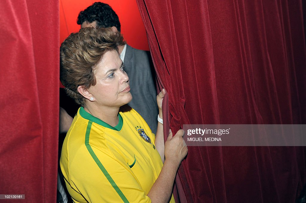 Brazil's ruling left-wing Workers Party candidate for the next October presidential elections Dilma Rousseff watches the screening of the 2010 Fifa World Cup football match Brazil vs North Korea on June 15, 2010 in Paris. Rousseff, a 62-year-old economist who served as energy minister before she became Lula's chief of staff, started today a visit in Europe to meet with European leaders.