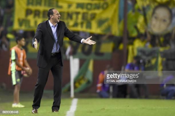 Brazil's Sao Paulo coach Rogerio Ceni gestures during their Copa Sudamericana football match against Argentina's Defensa y Justicia at Lanus stadium...