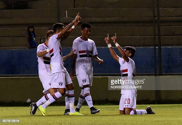 Brazil's Sao Paulo player Araujo celebrates after scoring a goal against Paraguays Libertad during their Copa Libertadores U20 football match at the...