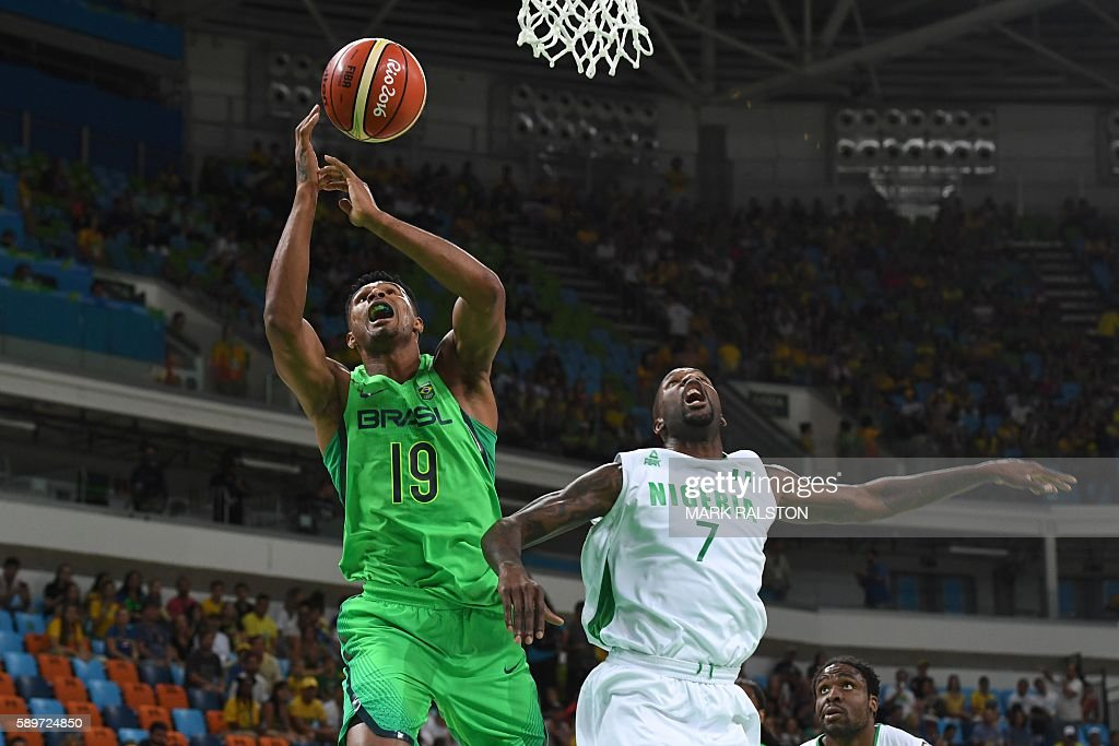 Brazil's shooting guard Leandro Barbosa 9L and Nigeria's small forward AlFarouq Aminu go for a rebound during a Men's round Group B basketball match...