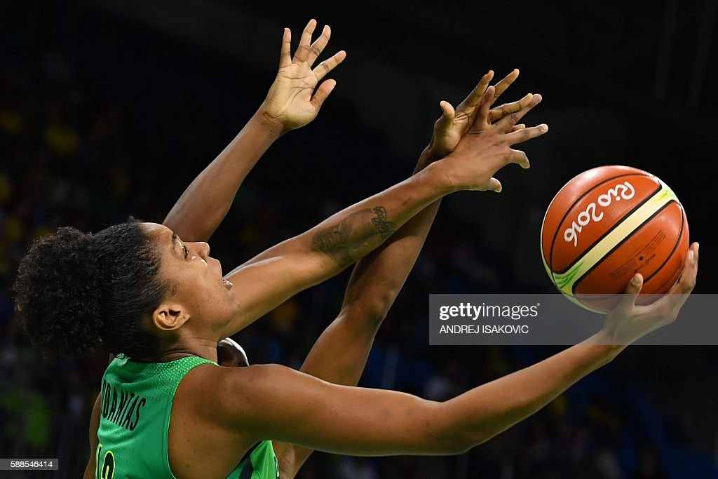 TOPSHOT Brazil's small forward Damiris Dantas goes to the basket during a Women's round Group A basketball match between France and Brazil at the...