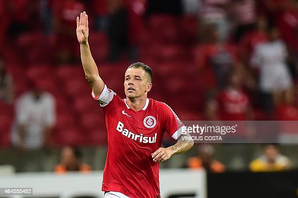 Brazil's Sport Club Internacional's Andres D'Alessandro celebrates after scoring against Chile's Universidad de Chile during the Copa Libertadores...