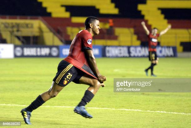 Brazil's Sport Recife Francisco Rithely celebrates after scoring against Brazil's Ponte Preta during the Copa Sudamericana football tournament match...