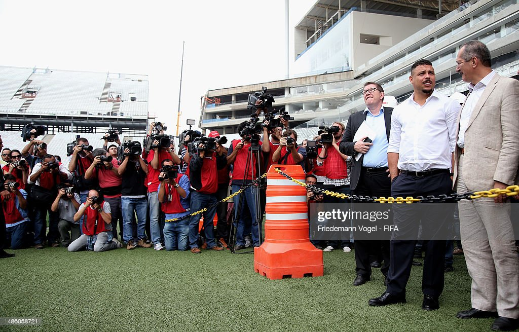 Brazils Sports Minister <a gi-track='captionPersonalityLinkClicked' href=/galleries/search?phrase=Aldo+Rebelo&family=editorial&specificpeople=772117 ng-click='$event.stopPropagation()'>Aldo Rebelo</a> and Ronaldo Luis Nazario, LOC Member take a tour of the brand new Arena Sao Paulo during the 2014 FIFA World Cup Host City Tour on April 22, 2014 in Sao Paulo, Brazil.