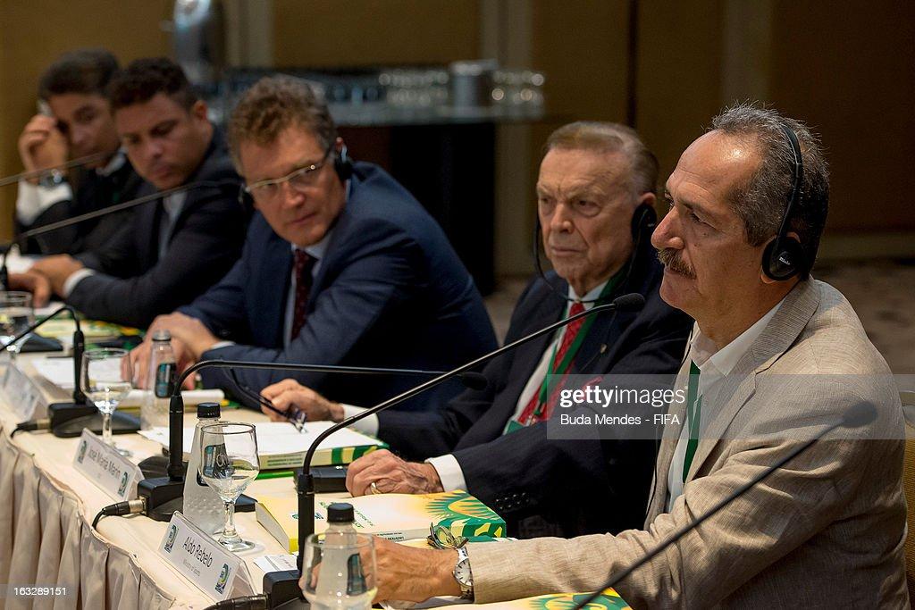 Brazil's Sports Minister Aldo Rebelo, CBF President Jose Maria Marin, FIFA Secretary General Jerome Valcke, LOC Members Ronaldo Nazario and Bebeto during the meeting for 2014 FIFA World Cup Host City Tour on March 7, 2013 in Rio de Janeiro, Brazil.