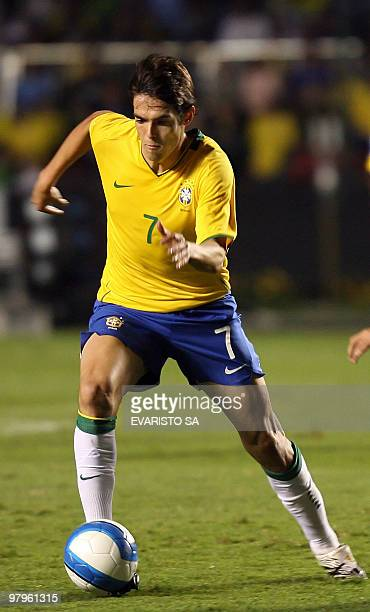 Brazil's striker Kaka carries the ball 21 November 2007 21 November 2007 during a FIFA World Cup South Africa2010 qualifying match against Uruguay at...
