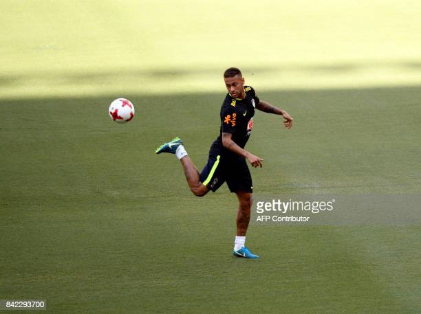 TOPSHOT Brazil's striker Neymar takes part in a training session in Arena Amazonia Manaus Brazil on September 3 2017 ahead of their upcoming 2018...