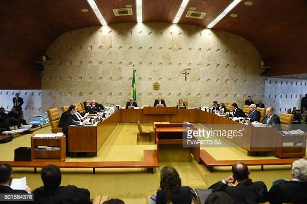 Brazil's Supreme Federal Tribunal during a session to discuss the impeachment of President Dilma Rousseff in Brasilia on December 16 2015 / AFP /...