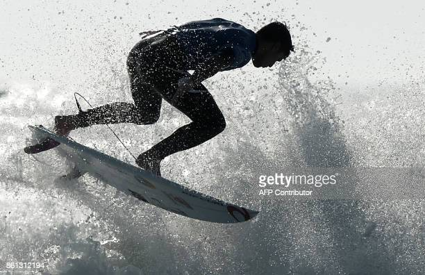 Brazil's surfer Gabriel Medina competes in the final of the French stage of the World Surfing Championship 2017 Quiksilver Pro France in Hossegor on...